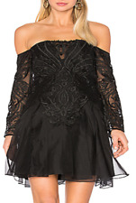 BEAUTIFUL THURLEY SPANISH STEPS OFF THE SHOULDER LACE DRESS IN BLACK SIZE 6 £650