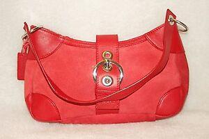 BATH and BODY WORKS Hand Shoulder Bag Satchel  Red Leather Suede * VG+