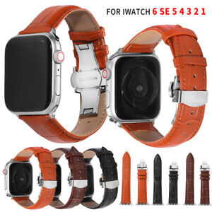 Leather Butterfly buckle Band Strap For Apple Watch SE Series 6 5 4 3 2 40/44mm