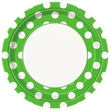 "8 Green White Polka Dot Spot Style Party Large 9"" Disposable Paper Plates"