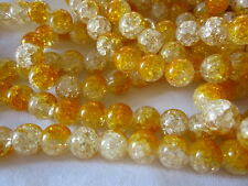 20 Crackle Glass Beads 12mm Topaz/Crystal #cr629 Combine Post-See Listing