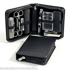 MENS GIFTS - 11 PIECE MENS MANICURE SET AND GROOMING KIT IN BLACK LEATHER CASE