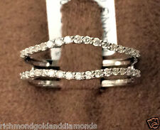Size 5 Solitaire Enhancer Insert Diamonds Ring Guard Wrap 14k White Gold Jacket