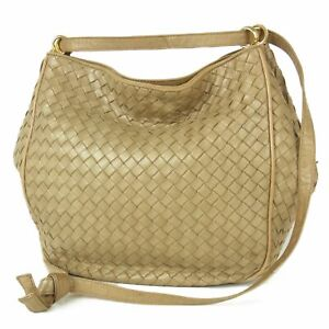 Auth BOTTEGA VENETA Vintage Intrecciato Leather Shoulder Bag Italy F/S 18269bkac