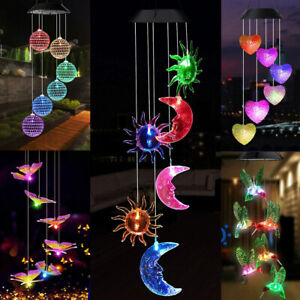 Colour Changing Hanging Wind Chimes LED Light Garden Outdoor Decor Solar Powered