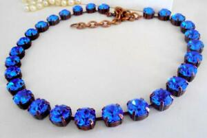 Sapphire Blue Rhinestone Tennis Necklace made with Austrian Vintage Crystals