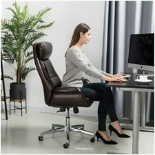 Glitzhome High Back Executive Office Chair Pu Leather Recline Computer Desk Seat