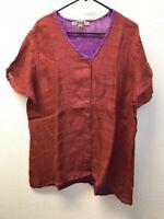NWT Flax Tunic Top Short Sleeve Scoop Neck Rust Purple Linen Womens L Lagenlook