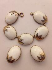 Vintage Coro Goldtone with White Cabochons Bracelet & Clip-on Earring Set