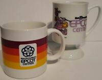Vintage Epcot Center Mugs 1980s Walt Disney World Dragon Stripes 1982 Japan