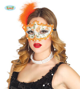 Guirca Carnevale Halloween 12714 Maschera con Piuma Arancione  Feather Mask Masq