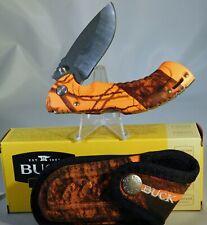 "Buck Orange Camo Folding Omni Hunter 10PT Lockback Knife, 3"" SS Drop"