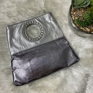 CANDIES Silver Metallic Clutch Top Handle Studded Bag Handbag Faux Leather