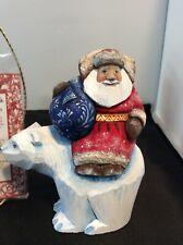 G. DeBrekht Russian Wood Carved Santa Figurine Limited #11008 Polar Bear Santa