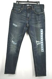 Old Navy Mens Relaxed Slim Built in Flex Dark Washed Distressed Jeans 30x30
