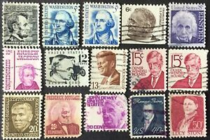 1965-81 4c-50c Prominent Americans issue, Scott #1282-1293, Used F-VF