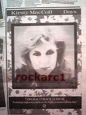 KIRSTY MacCOLL Days 1989 UK Press ADVERT 10x8 inches
