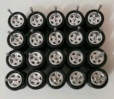 HOT WHEELS STAR REAL RIDERS WHEELS RUBBER TIRES CHROME 10MM 10 SETS 1/64
