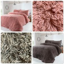 "Rapport Soft ""Luxury Fur"" Fleece Duvet Cover Bedding Set Pink Or Charcoal"
