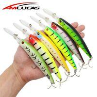 Minnow Bass Fishing Lure Crankbait Hard Bait Fishing Tackle Plastic Fish Wobbler