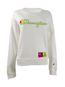 Champion Women's Reverse Weave Neon Crewneck Sweatshirt (S, White)
