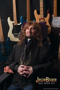 SIGNED and THUMB PRINTED Poster JASON BECKER WITH GUITARS (17 x 11 in.)