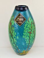 MARIO HAND BLOWN ART GLASS STUDIO VASE LARGE BLUE GREEN HEAVY