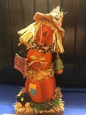 Halloween Scarecrow Of Pumpkins WELCOME Sign Black Bird