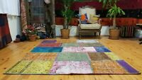 Vintage Bohemian Overdyed Patchwork Rug 5' x 7'