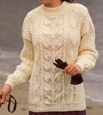 Knitting Pattern Lady's Saddle Shoulder Aran Cable Sweater 76-102 cm   (15)