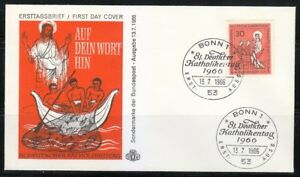 Germany 1966 FDC cover Mi 515 Sc 961 German Catholics meeting.Jesus fishing Bonn