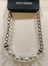 NEW Steve Madden Clear Lucite Crescent Bib Pearl Rhinestone Necklace