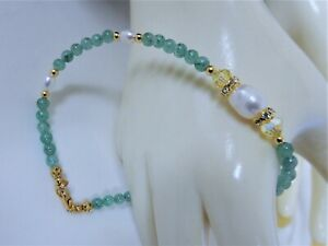 """Freshwater Pearl/ Green Aventurine/ Crystal/ Gold Plated Anklet 10"""""""