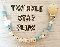 Personalised Wooden Dummy Clip Rabbit Cloud Boy Pacifier Blue White Handmade