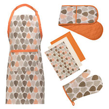 Premier Housewares 100% Cotton Orange Leaf Apron Oven Glove And Tea Towels Set