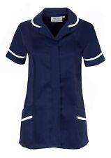NAVY NURSES TUNIC HEALTHCARE TOP, DENTAL VET SALON NHS,  SIZES UK 8-24. INS31NV