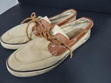 Men's Ralph Lauren Tan Canvas Boat Shoes,Frabric/Leather size 10.5D