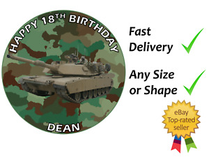 Army Tank Camo Personalised cake topper edible icing or Wafer