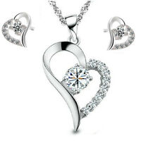 925 Silver Crystal Heart Pendant Necklace Earrings Stud Set For Women Jewelry