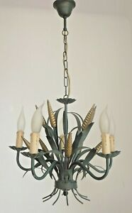 French Vintage Tole Ware 5 Light Chandelier Green And Gold Ears Of Wheat 2992