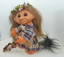 """1977 Dam Girl Tailed Forest 8"""" Troll - Orig Brown Hair - Woodland Berries OOAK"""