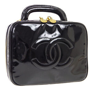 CHANEL CC 2way Cosmetic Vanity Hand Bag 4688919 Purse Black Patent A46578b