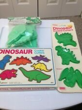 3 sets of vintage Dinosaur cookie cutters - Metal + Plastic-13 items-new in box