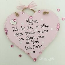 Personalised Side By Side Or Miles Apart Cousins Friends Heart Plaque Gift
