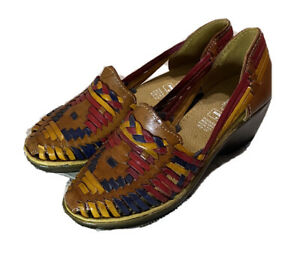 Authentic Mexican Women's Huarache Wedge Leather Sandal Shoes Handmade Size 5