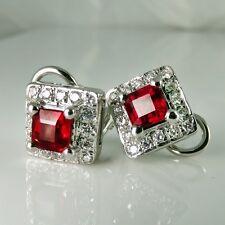 Vivid Gem Natural Ruby Diamond Earrings 18K White Gold Wedding Anniversary