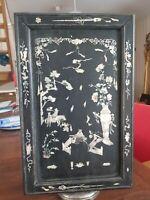 XIX ème s, ancien panneau décoratif orientale incrustation de nacre CHINE