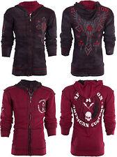 AFFLICTION Men Hoodie Sweat Shirt ZIP UP Jacket REVERSIBLE Live Fast Prime $98