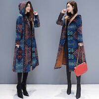 Women Floral Hooded Jacket Long Coat Ethnic Parkas Outwear Fleece Lined Warm Top