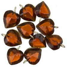 Transparent Brown Glass Heart Charm Pendants 15mm Pack of 10 (A93/12)